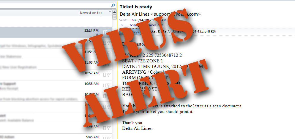 Ticket is ready – Virus Alert