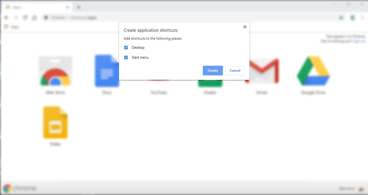 Google Chrome Application shortcut or Open as Window