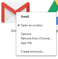 Google Chrome Application shortcut or Open as Window